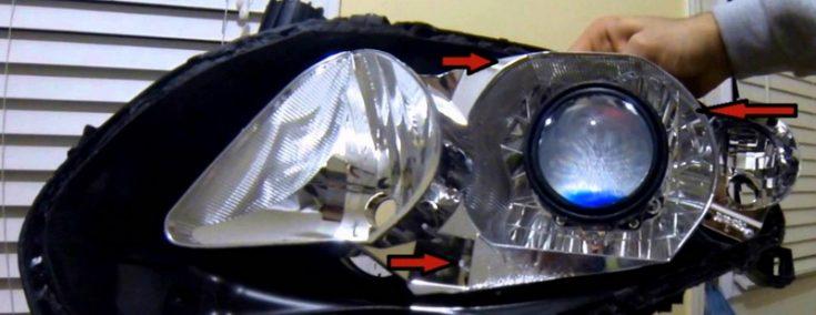 Проведение ремонта передней оптики Toyota Corolla