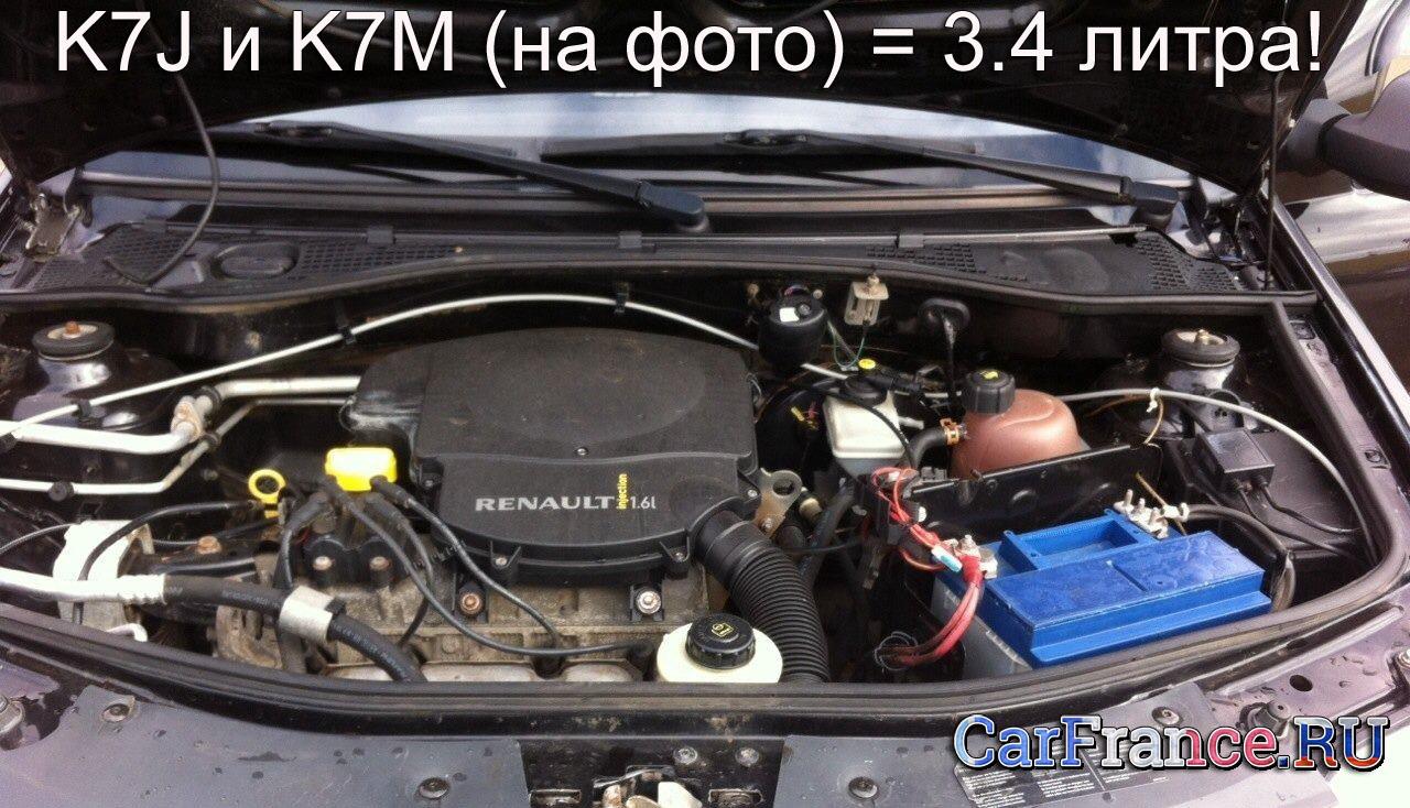 Двигатель K7M Рено Логан под капотом