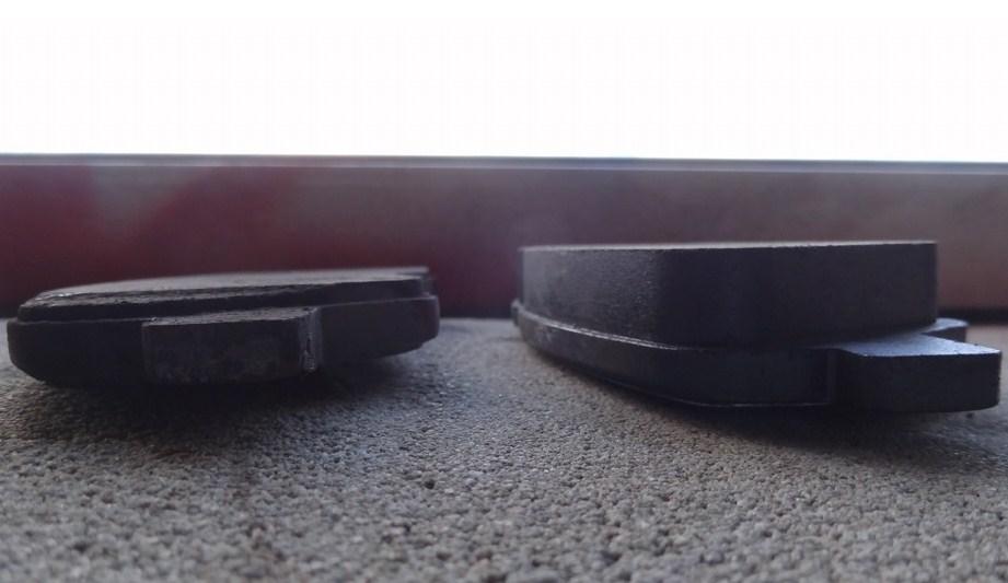 старые и новые тормозные колодки солярис - наглядное сравнение