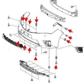 схема крепления переднего бампера Toyota Corolla (с 2013)