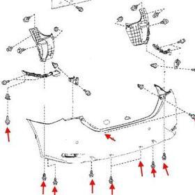 схема крепления заднего бампера Toyota Corolla (с 2013)