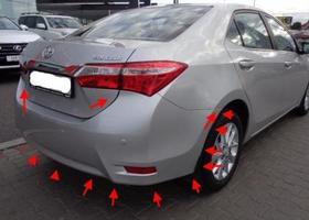 места крепления заднего бампера Toyota Corolla (с 2013)