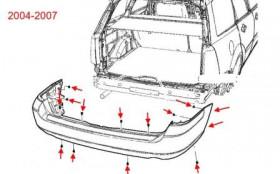 схема крепления заднего бампера Ford Focus 2 (2004-2007)