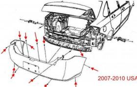 схема крепления заднего бампера Ford Focus 2 (2004-2010)