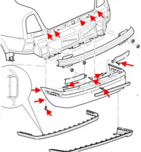 схема крепления заднего бампера SKODA OCTAVIA 1