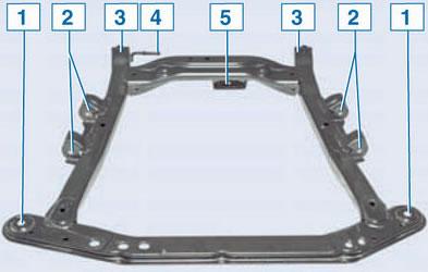 Схема подрамника передней подвески Рено Логан