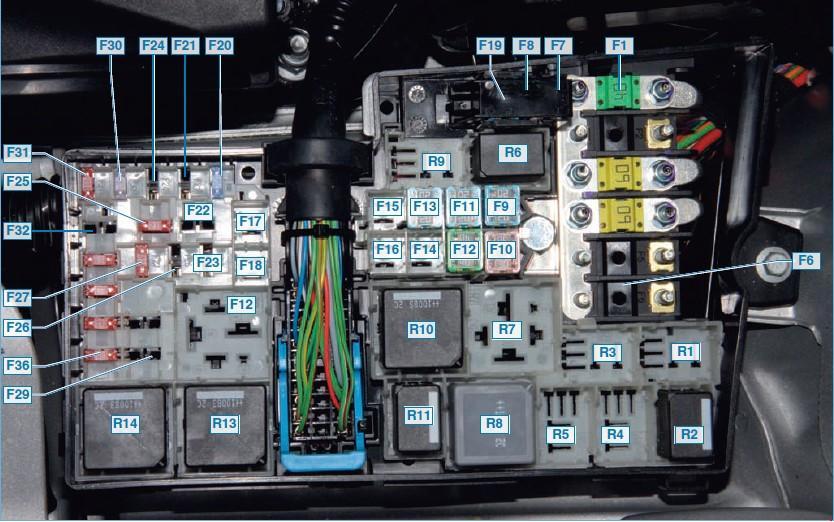 Силовые предохранители и реле в моторном отсеке Форд Фокус 2