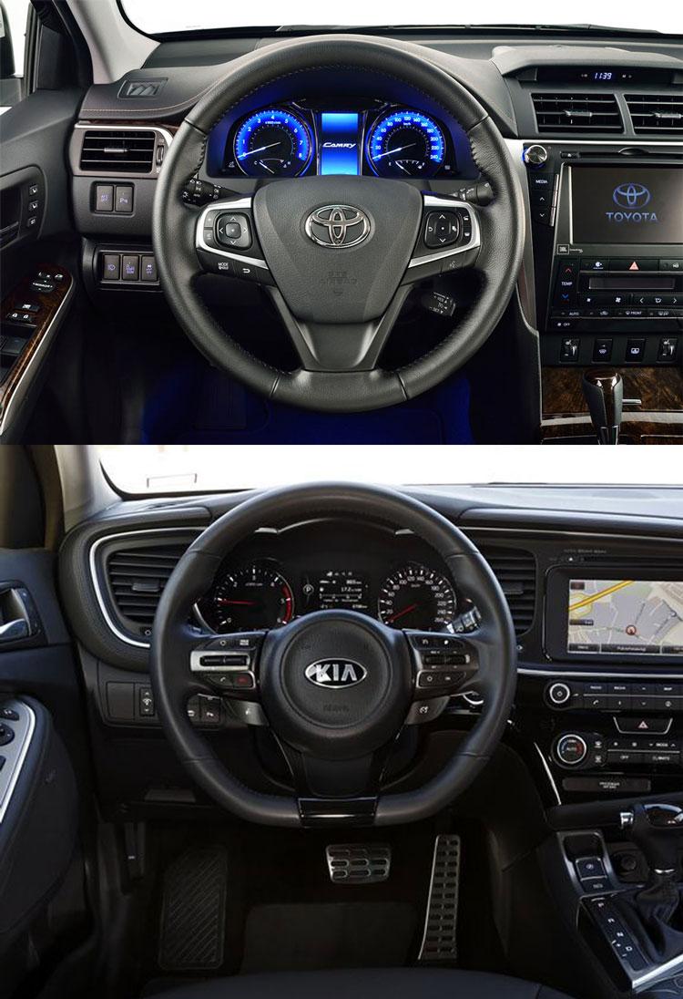Сравнение интерьера Тойота Камри и Киа Оптима