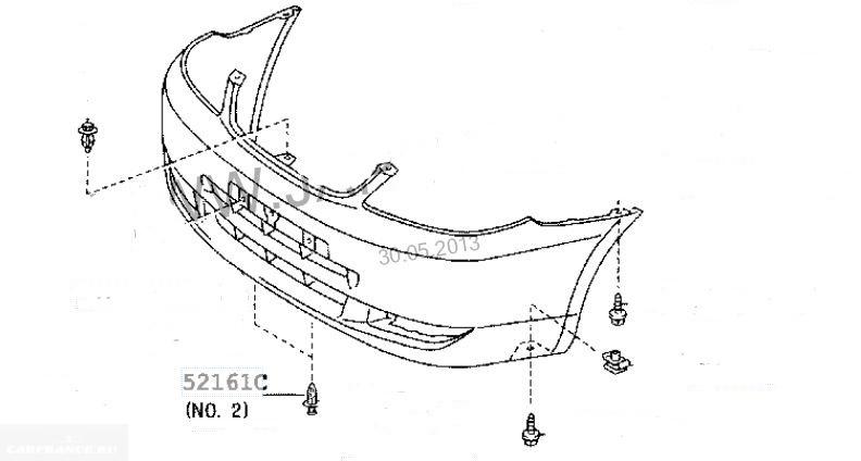 Техсхема переднего бампера Тойота Королла