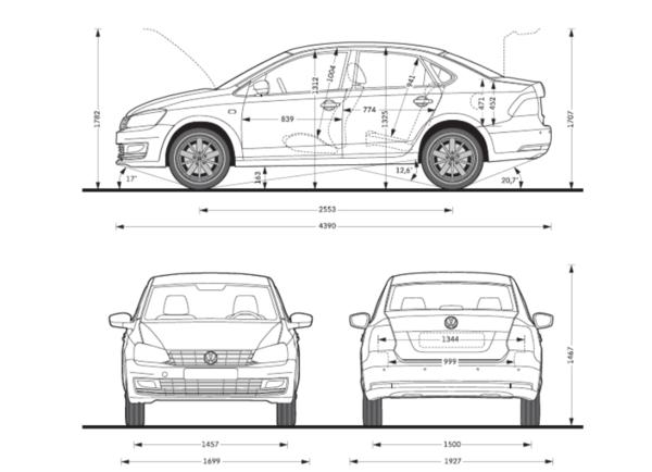 Длина нового VW Polo